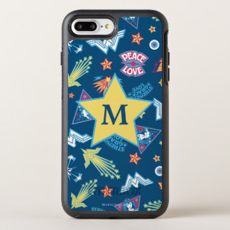 Wonder Woman Icons & Phrases Pattern | Monogram OtterBox Symmetry iPhone 8 Plus/7 Plus Case
