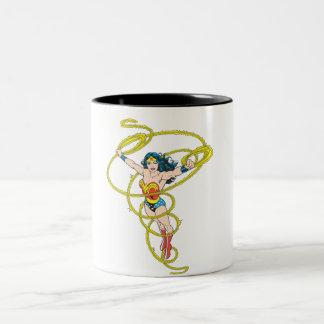 Wonder Woman in Lasso Two-Tone Coffee Mug