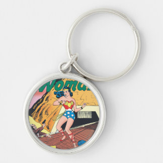 Wonder Woman Invisible Trail Silver-Colored Round Key Ring