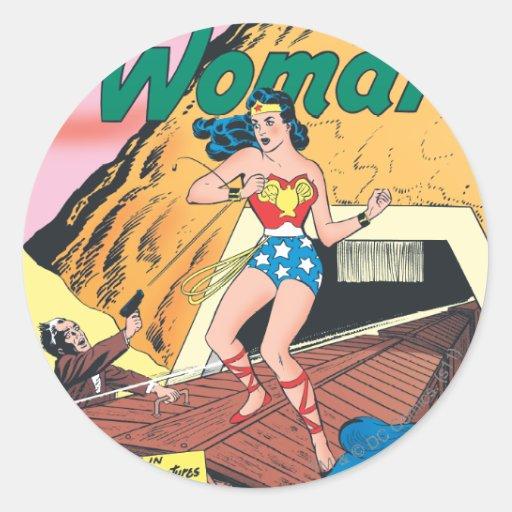 Wonder Woman Invisible Trail Round Sticker