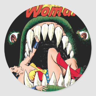 Wonder Woman Jaws Round Sticker