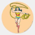 Wonder Woman Lasso over Head Round Sticker