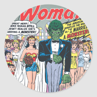 Wonder Woman Married a Monster Round Sticker