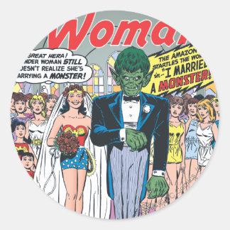 Wonder Woman Married a Monster Round Sticker