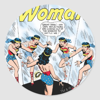 Wonder Woman Mennace of the Mirror Round Sticker