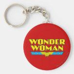 Wonder Woman Name and Logo Basic Round Button Key Ring
