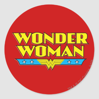 Wonder Woman Name and Logo Round Sticker