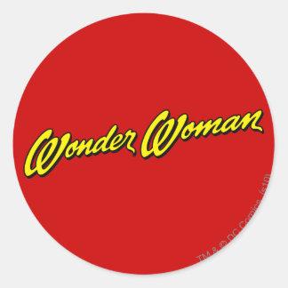 Wonder Woman Name Round Sticker