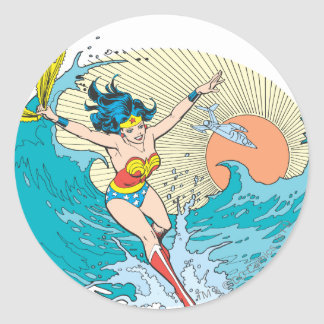 Wonder Woman Ocean Sky Classic Round Sticker
