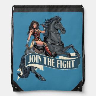 Wonder Woman on Horse Comic Art Drawstring Bag