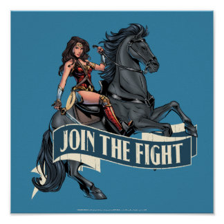 Wonder Woman on Horse Comic Art Poster