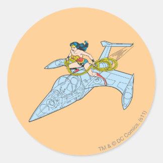 Wonder Woman on Spaceship Round Sticker