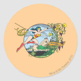 Wonder Woman Paradise Island Round Sticker