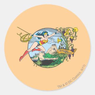 Wonder Woman Paradise Island Round Sticker