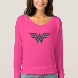 Wonder Woman Pink and Black Checker Mesh Logo T-Shirt
