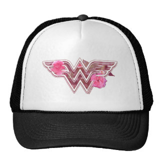 Wonder Woman Pink Camellia Flowers Logo Cap