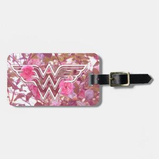 Wonder Woman Pink Camellia Flowers Logo Luggage Tag