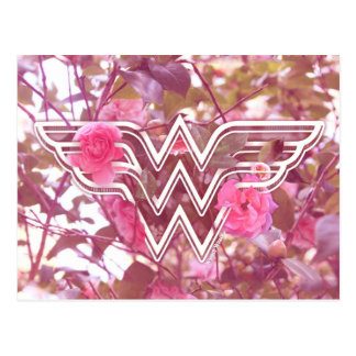 Wonder Woman Pink Camellia Flowers Logo Postcard