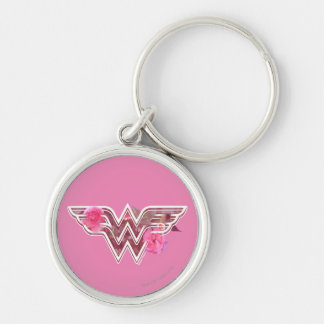 Wonder Woman Pink Camellia Flowers Logo Silver-Colored Round Key Ring