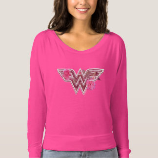 Wonder Woman Pink Camellia Flowers Logo T-Shirt