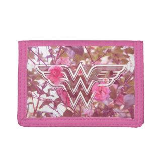 Wonder Woman Pink Camellia Flowers Logo Tri-fold Wallets