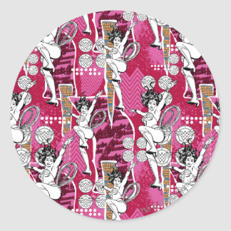 Wonder Woman Pink Pattern Round Sticker