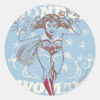 Wonder Woman Pow Round Sticker