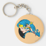 Wonder Woman Profile Background Basic Round Button Key Ring