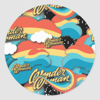 Wonder Woman Rainbow Clouds Pattern Round Sticker