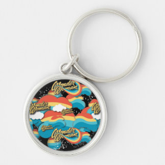 Wonder Woman Rainbow Clouds Pattern Silver-Colored Round Key Ring