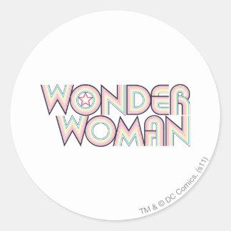 Wonder Woman Rainbow Logo Round Sticker