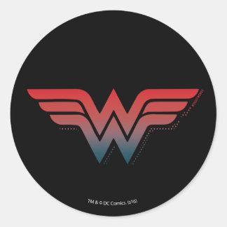Wonder Woman Red Blue Gradient Logo Classic Round Sticker