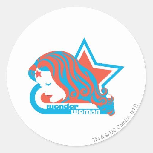 Wonder Woman Red & Blue Star Round Stickers