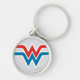 Wonder Woman Red White and Blue Logo Silver-Colored Round Key Ring