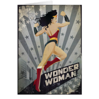 Wonder Woman Retro City Sunburst and Stars Card