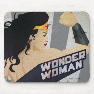 Wonder Woman Retro City Sunburst and Stars Mouse Pad