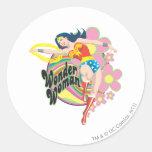 Wonder Woman Retro Flowers Round Sticker