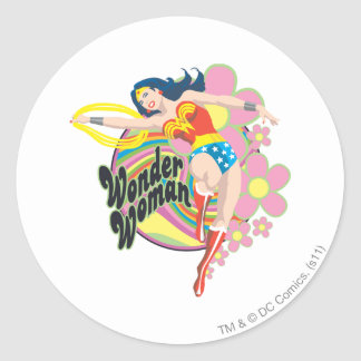 Wonder Woman Retro Flowers Round Sticker
