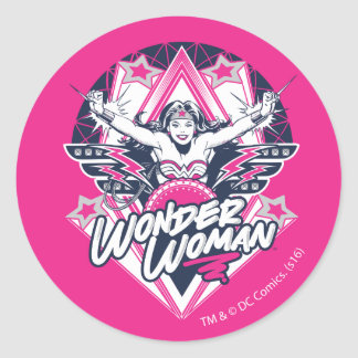 Wonder Woman Retro Glam Rock Graphic Classic Round Sticker