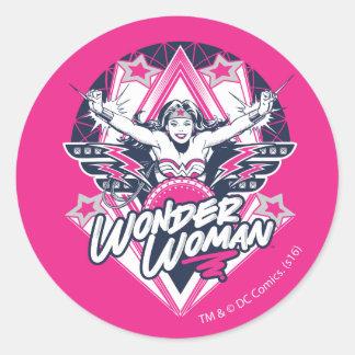 Wonder Woman Retro Glam Rock Graphic Round Sticker