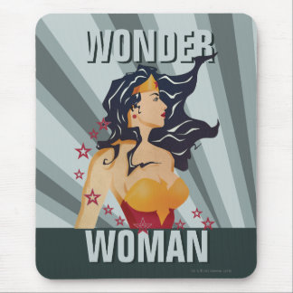 Wonder Woman Retro Profile Sunburst Mouse Pad