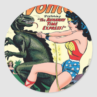 Wonder Woman Runaway Time Express Classic Round Sticker