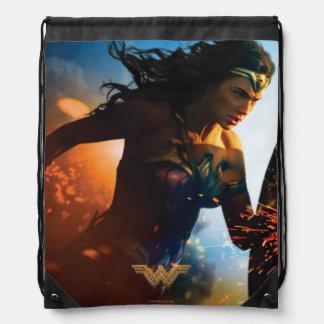 Wonder Woman Running on Battlefield Drawstring Bag