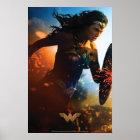 Wonder Woman Running on Battlefield Poster