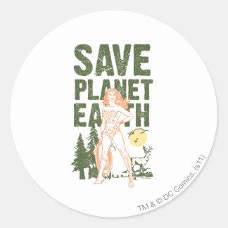Wonder Woman Save Planet Earth Round Sticker