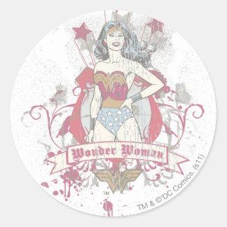 Wonder Woman Shooting Stars Round Stickers