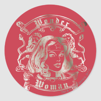 Wonder Woman Silver Round Sticker