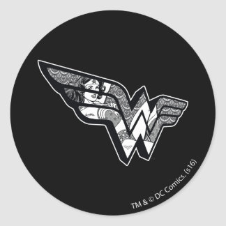 Wonder Woman Sitting In Angled Lace Logo Classic Round Sticker