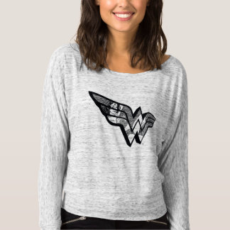 Wonder Woman Sitting In Angled Lace Logo T-Shirt