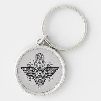 Wonder Woman Spiritual Paisley Hamsa Logo Silver-Colored Round Key Ring